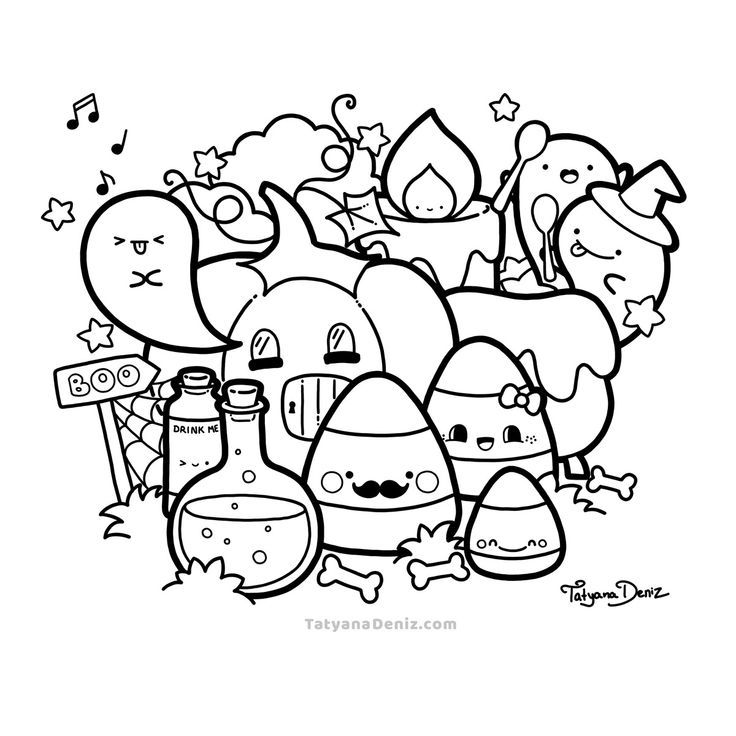 Halloween Kawaii Doodle Free Coloring Page Halloween Nghệ Thuật Doodle Phac Thảo Nghệ Thuật