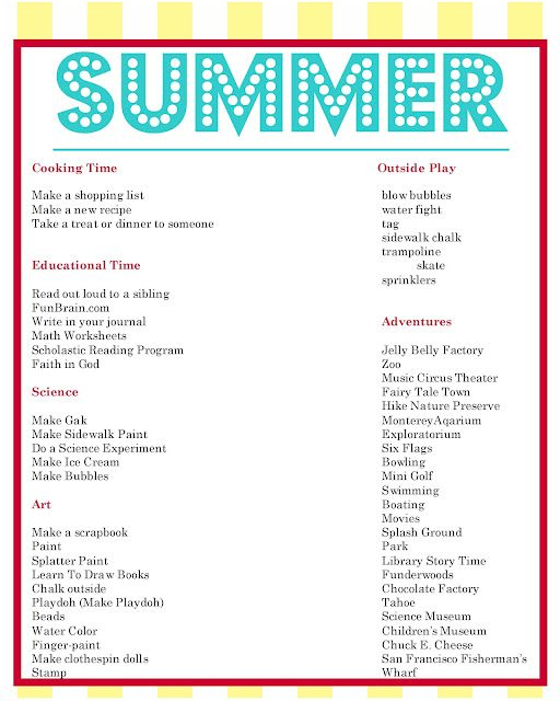 summer list and daily schedules with printables from endless