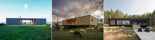 Low Long Rectangular Wood Homes With Flat Roof.