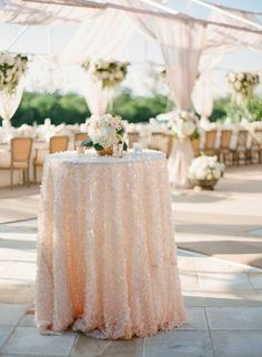 Long Banquet Reception Table with Slate Tablecloth   Receptions ...