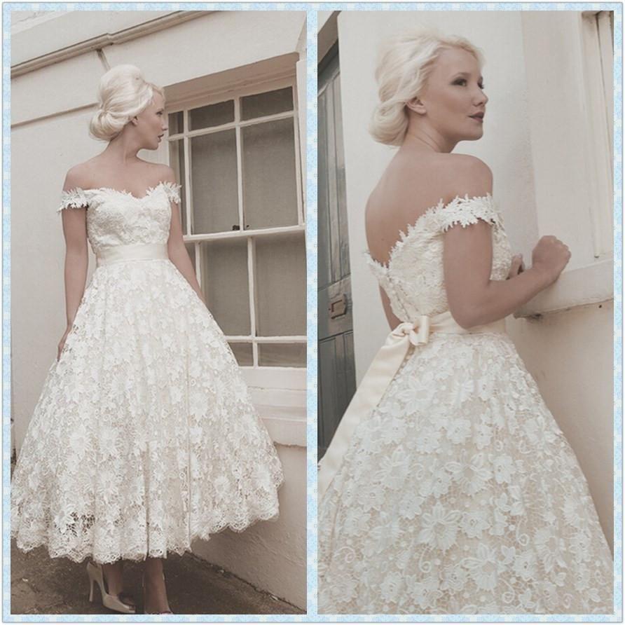 Wholesale tea length wedding gowns buy vintage off shoulder