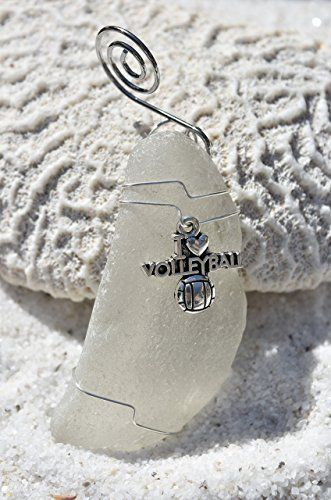 Genuine Surf Tumbled Frosted Sea Glass Ornament with an I Love Volleyball Charm