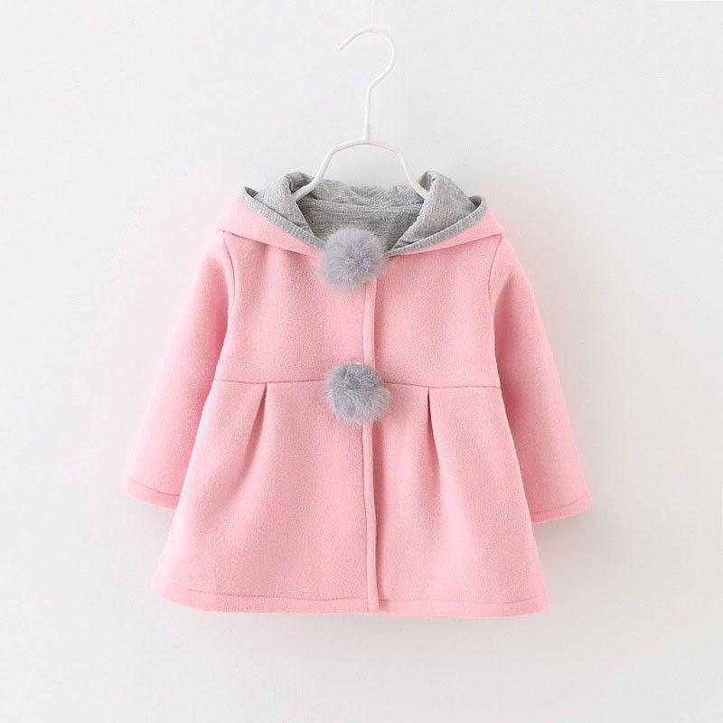d990611173d4 Autumn Winter Girls Coats Cute Cartoon Rabbit Ear Hooded Long Sleeve ...