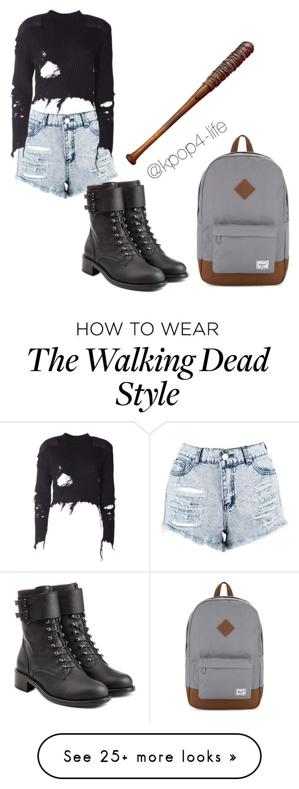 """""""The Walking Dead"""" by kpop4-life on Polyvore featuring Boohoo, Philosophy di Lorenzo Serafini, Herschel Supply Co., Lucille and adidas Originals"""