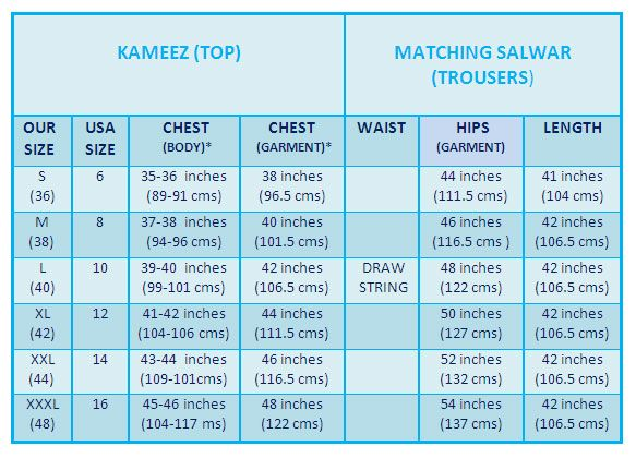 Women's Salwar Kameez & Punjabi Suit Size Chart  How to select