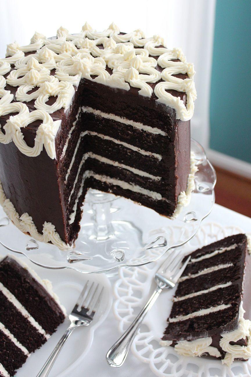 Triple Chocolate Fudge Cake Marshmallow creme frosting Layered