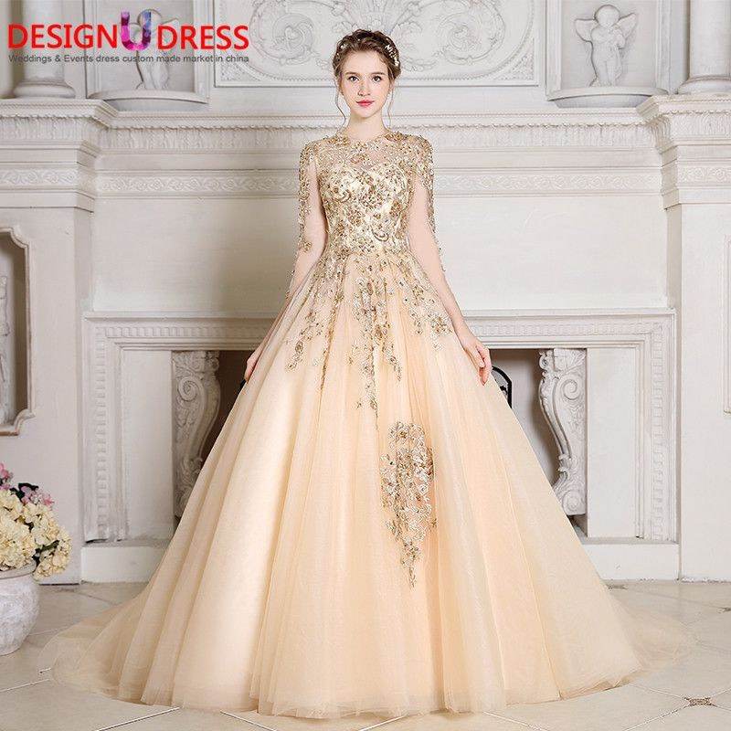 b864450a01 New Charming Long Sleeve Arabic Muslim Ball Gown Luxury Gold Lace Sexy  Illusion Back Sheer Beaded Wedding Gowns