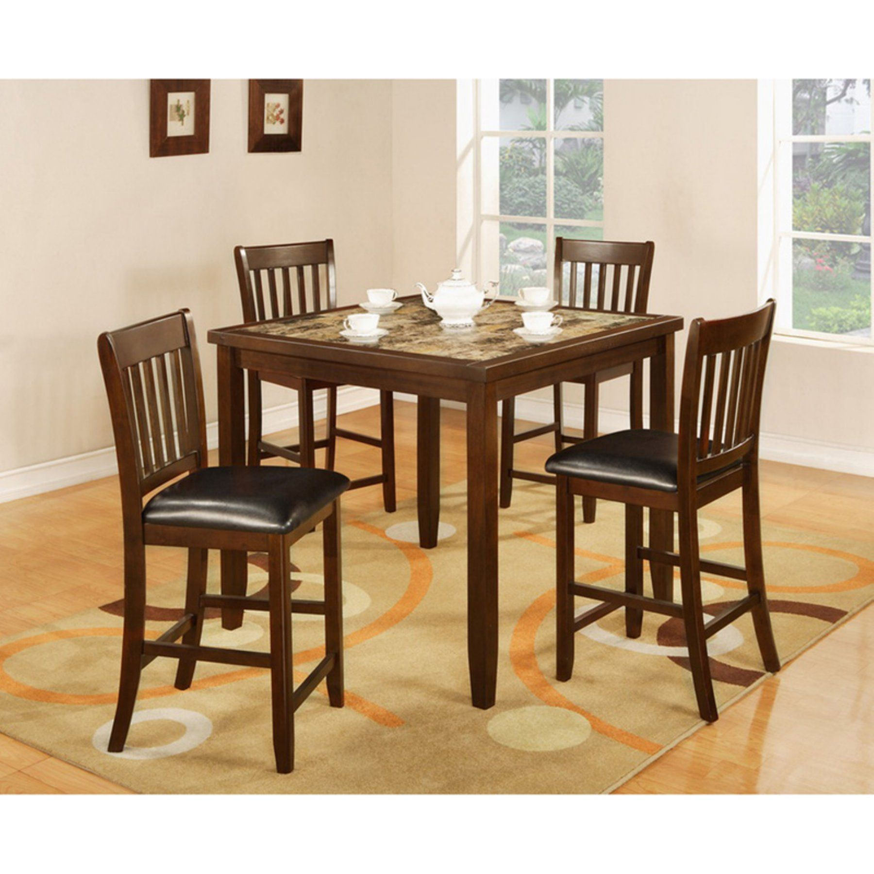 Roundhill Furniture Zoho 5 Piece Faux Marble Counter Height Dining