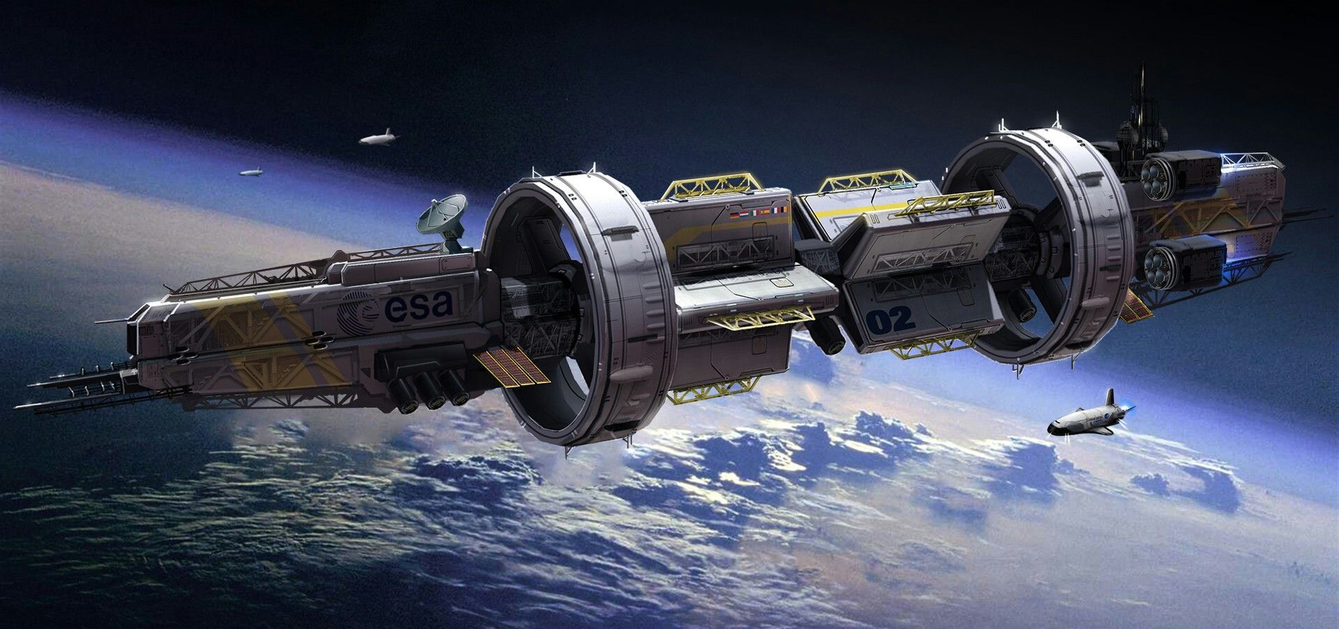 esa space cruiser science fiction illustration