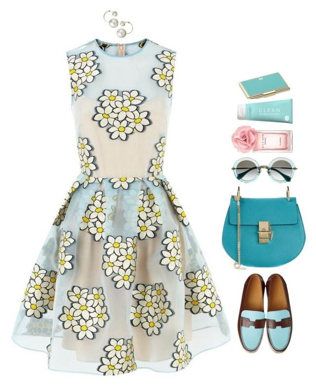 """""""Daisy blue"""" by xoxomuty ❤ liked on Polyvore featuring RED Valentino, Chloé, Kate Spade, Tommy Hilfiger and CLEAN"""