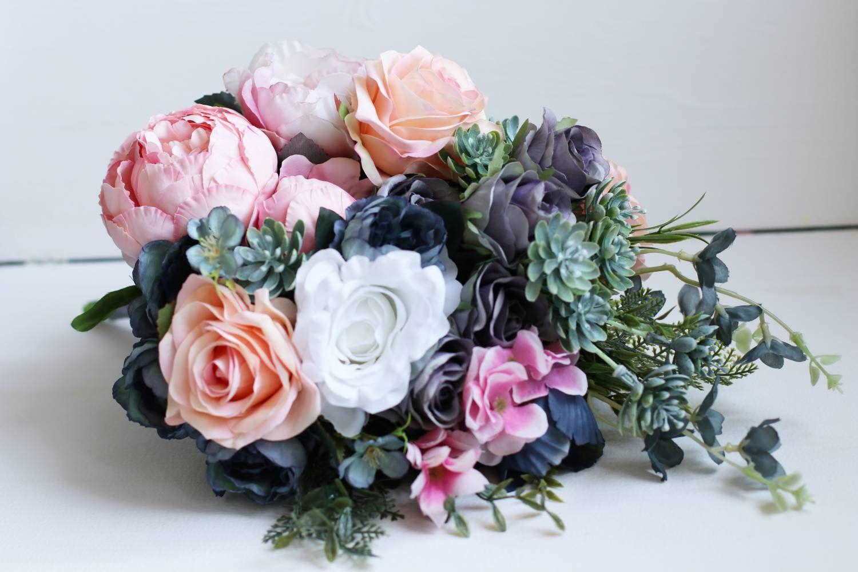 Succulent bouquet bridal blue navy grey peach peonies pink