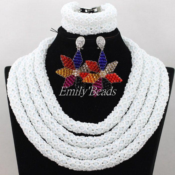 2016 Latest African Beaded Jewelry Set Bridal Jewelry Set White ...