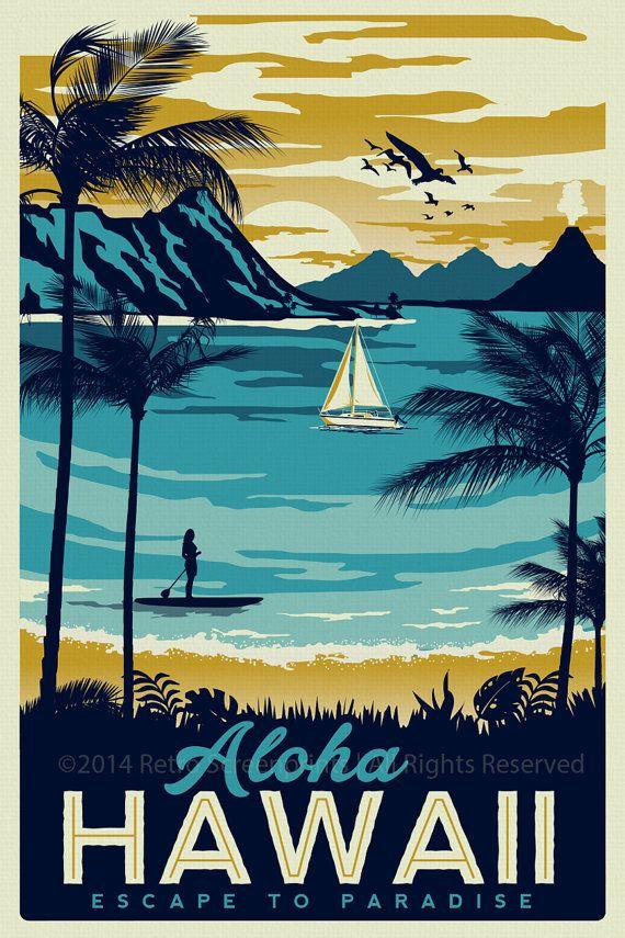 hawaii retro vintage travel poster surf palm trees hawaii pinterest travel posters. Black Bedroom Furniture Sets. Home Design Ideas