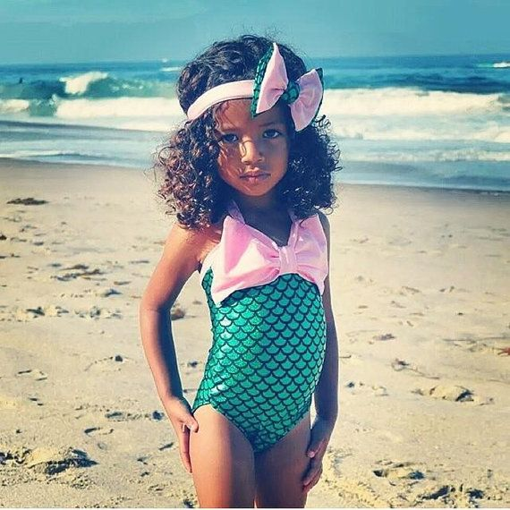 Pink and Green Onesie Mermaid Bathing Suit by Classyandsassyinc
