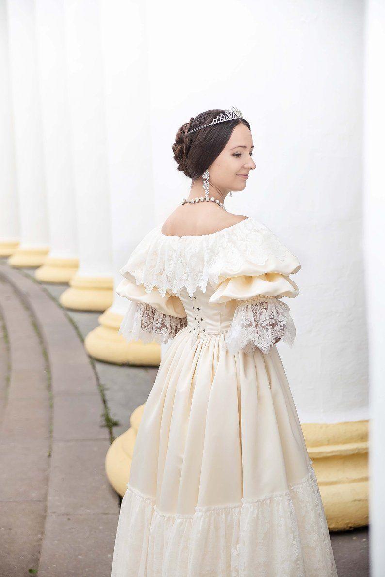 Young Victoria Wedding Dress 1840s Wedding Gown Etsy Victoria Wedding Dress Boat Neck Wedding Dress Wedding Dresses [ 1191 x 794 Pixel ]