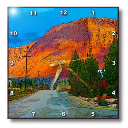 3dRose - Jos Fauxtographee Realistic - The Red Hill in Ivins, Utah with the road on Main Street - Wall Clocks