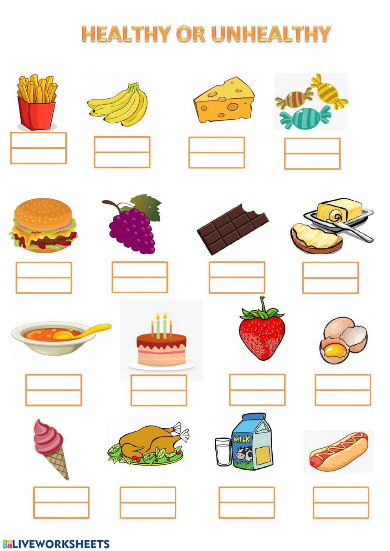 Food Healthy unhealthy food worksheet Healthy and