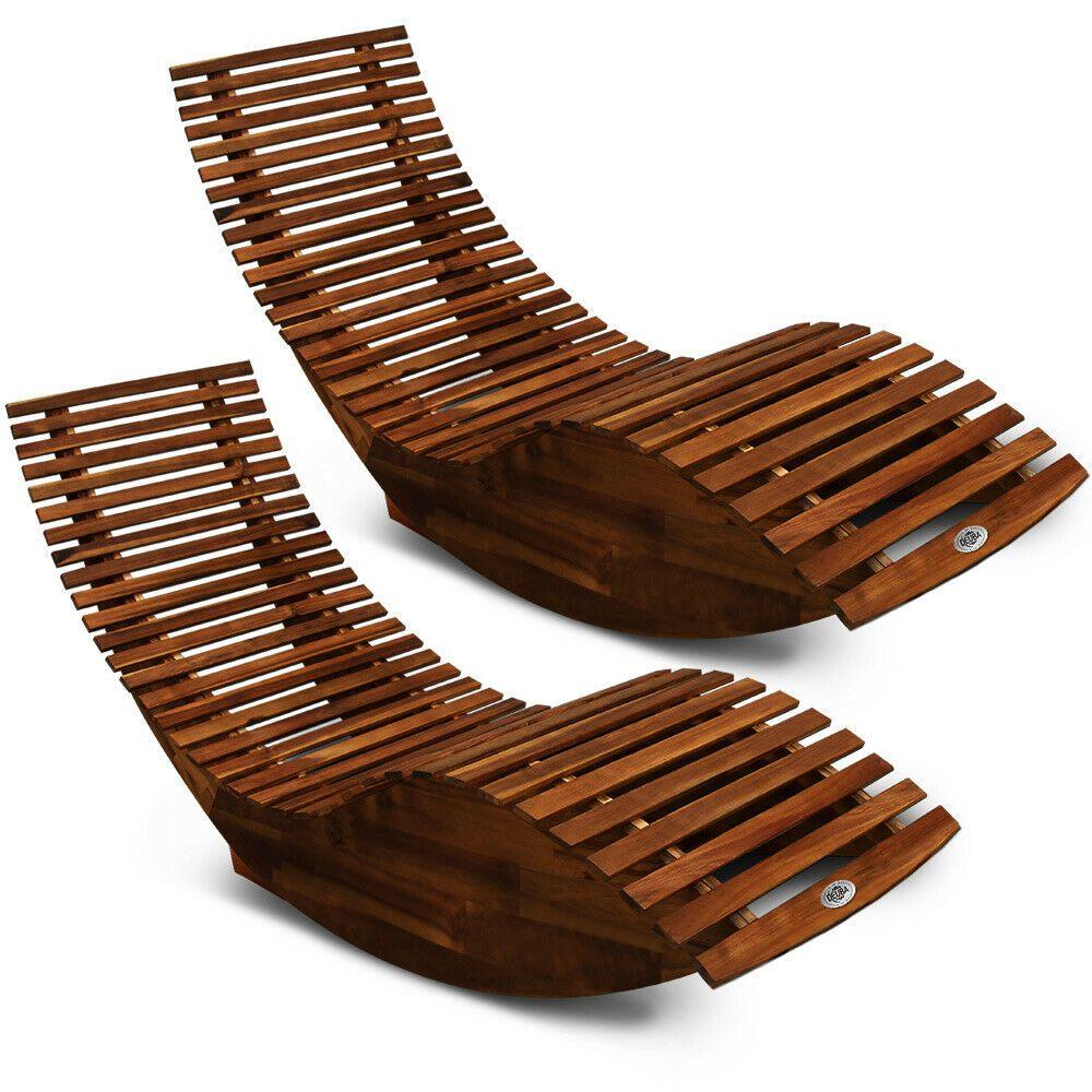 2x Sonnenliege Gartenliege Liegestuhl Deuba Holzliege Saunaliege