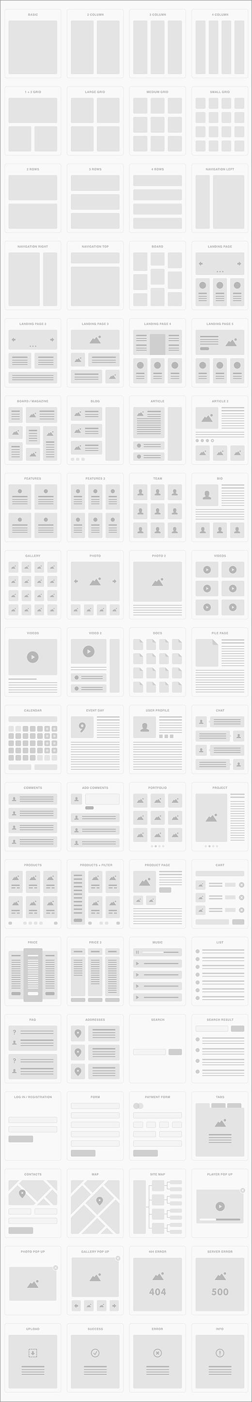 最近のWebデザインで採用されているレイアウト72種類を収録した無料のUI素材(PSD, AI, Sketch) -UI Tiles