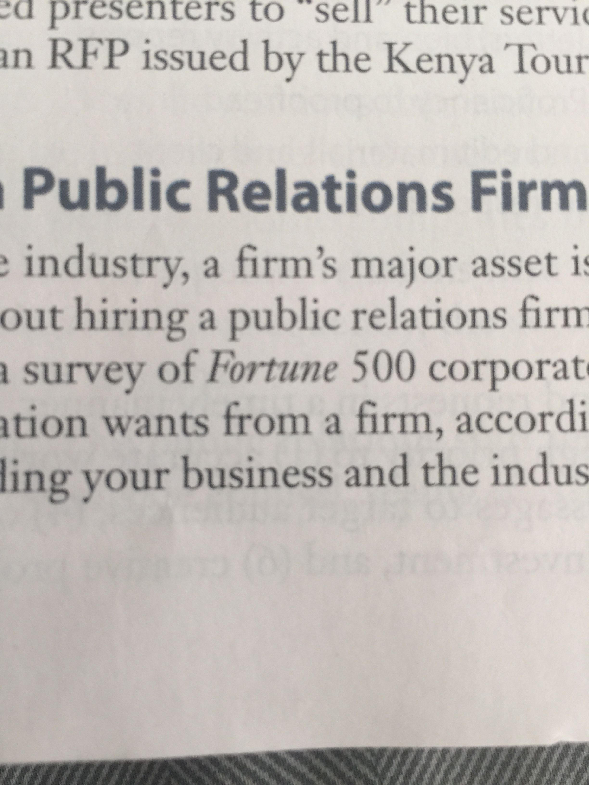 In my intro to PR text book  It talks about Fortune 500
