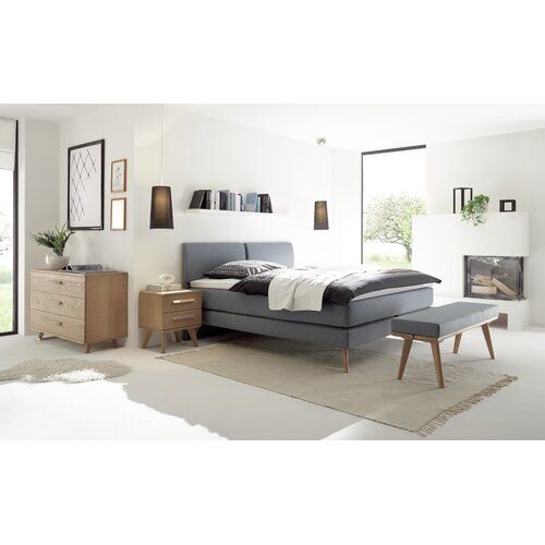 Photo of Box spring bed Cassidy Isabelline size: 160 × 200 cm, mattress type: Perla Tex H4, topper: no topper