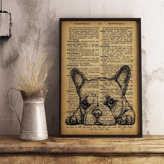Dog Art Print Dog Mom Gift Dog Wall Art Dog Decor Dictionary Antique Style  Print Cute Puppy Print Vet Gift Office Decor Cabin Decor A36