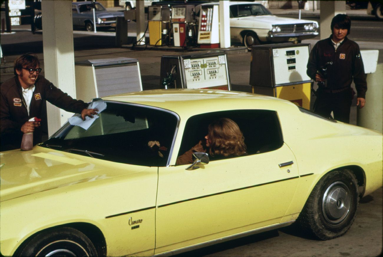 1975 Gas Station promo pic. 1973 Camaro. Cool old cars