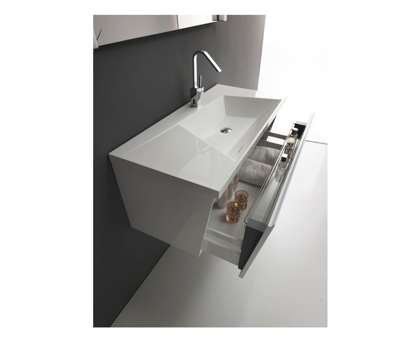 mobile bagno con cassetto e lavabo a trapezio - 100x48x43 cm