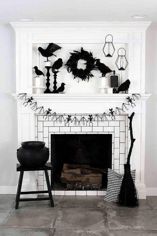 Black and White Halloween Mantel Halloween Pinterest Halloween