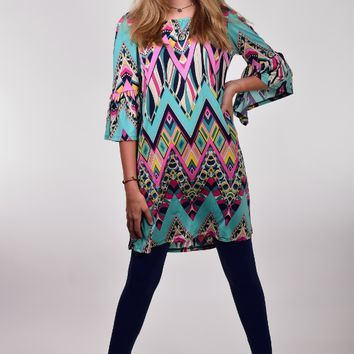Mint, Pink, and Navy Chevron Printed Dress with Bell Sleeves by The Hanger