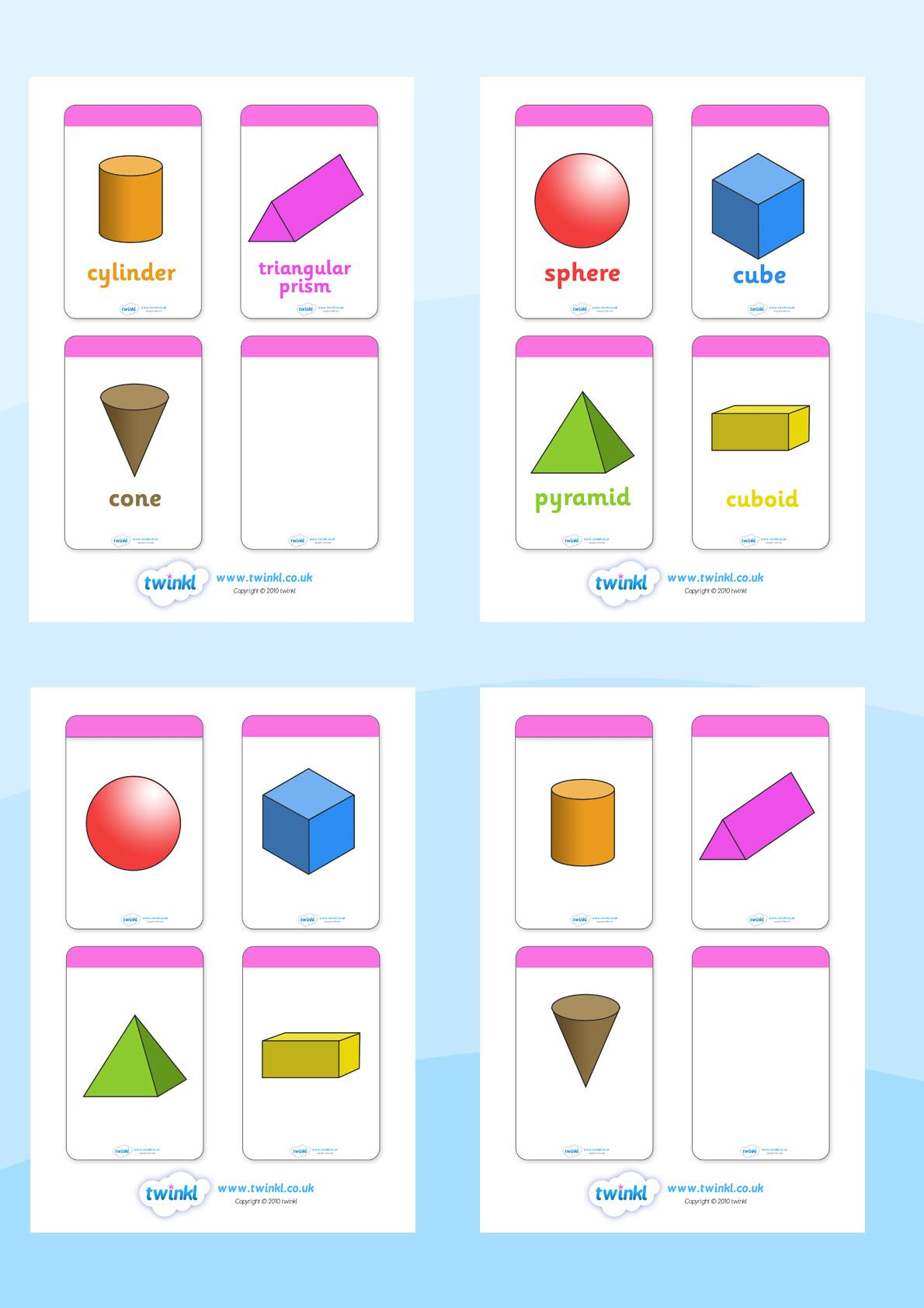 Twinkl Resources 3d Shape Flashcards Printable Resources
