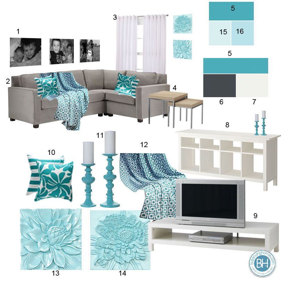 mood board: gray & aquamarine living room | aqua, brown and gray