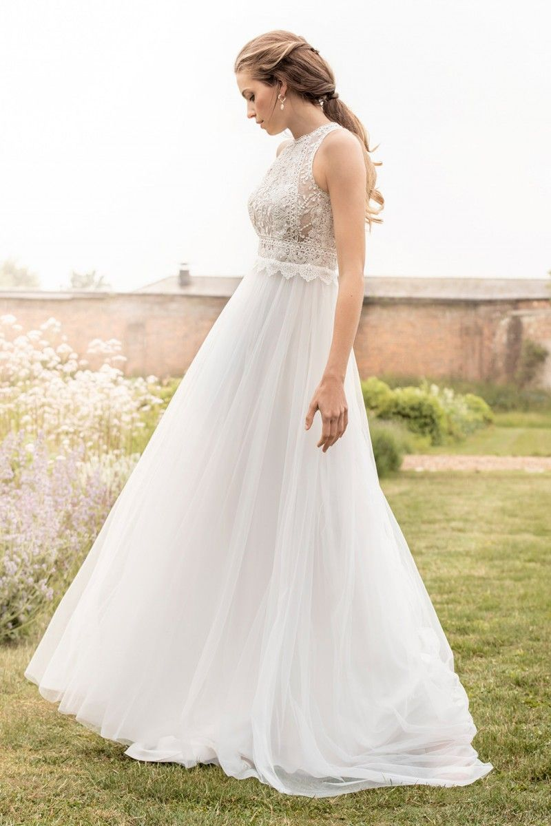 Bridal collection kelsey rose high neck lace dress