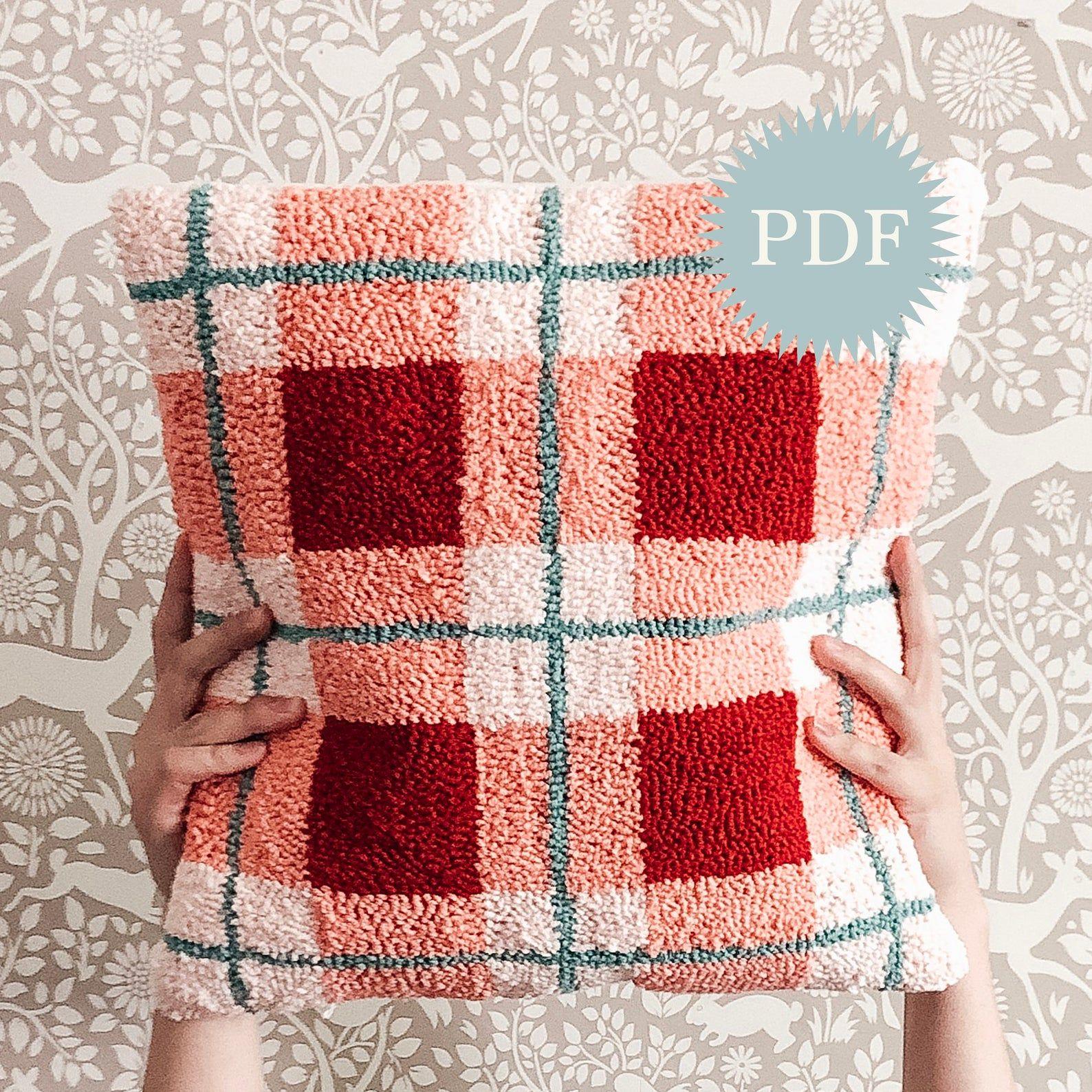 Digital Needle Punch Pattern -- Plaid Pillow