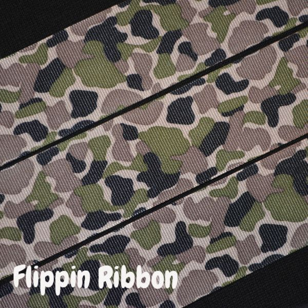 Green and Brown Camouflage Ribbon, 5 Yards, 1 1/2 inch Grosgrain