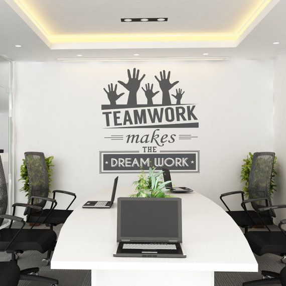 Teamwork makes the dream work teamwork office wall art for Wallpaper design for office wall