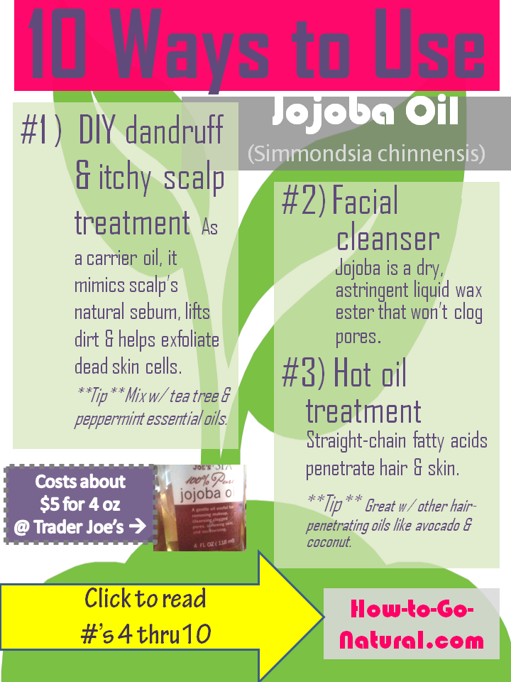 "Jojoba oil penetrates the skin & hair, fights inflammation, is an astringent oil, feels ""dry"" to the touch and much, much more! No matter what your hair/skin type, there are many ways to take advantage of this unique oil (that's not really an oil- it's a liquid wax!)"