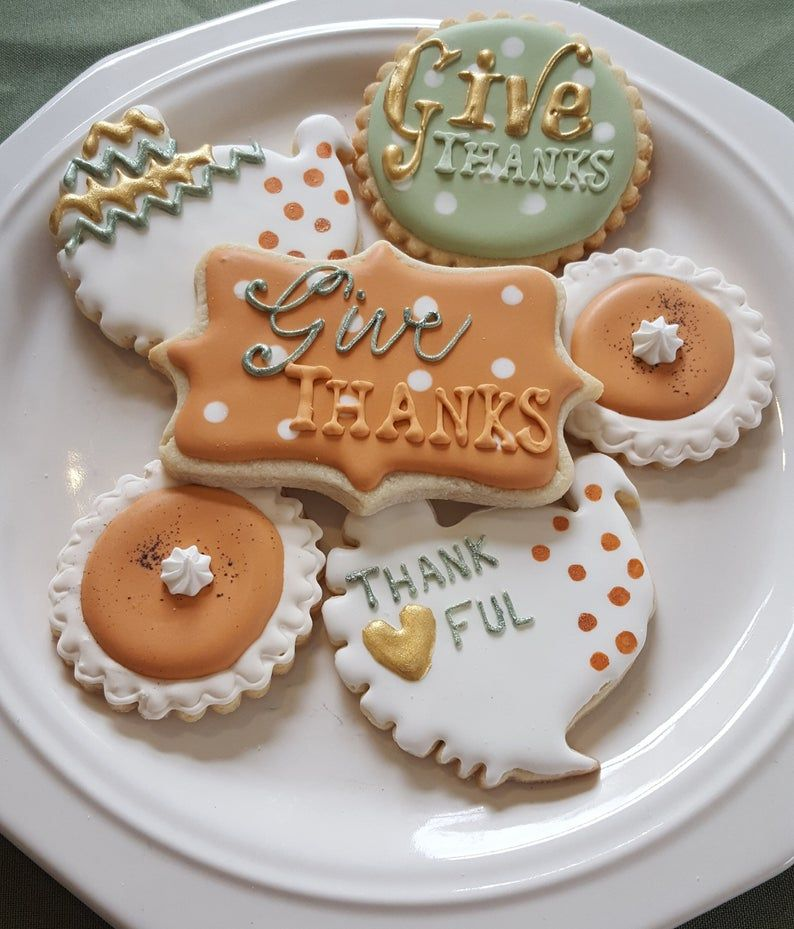 Thanksgiving Sugar Cookies Give Thanks Thankful Iced Decorated~1 Dozen from Frost Yourself Cookies #pumpkinsugarcookies