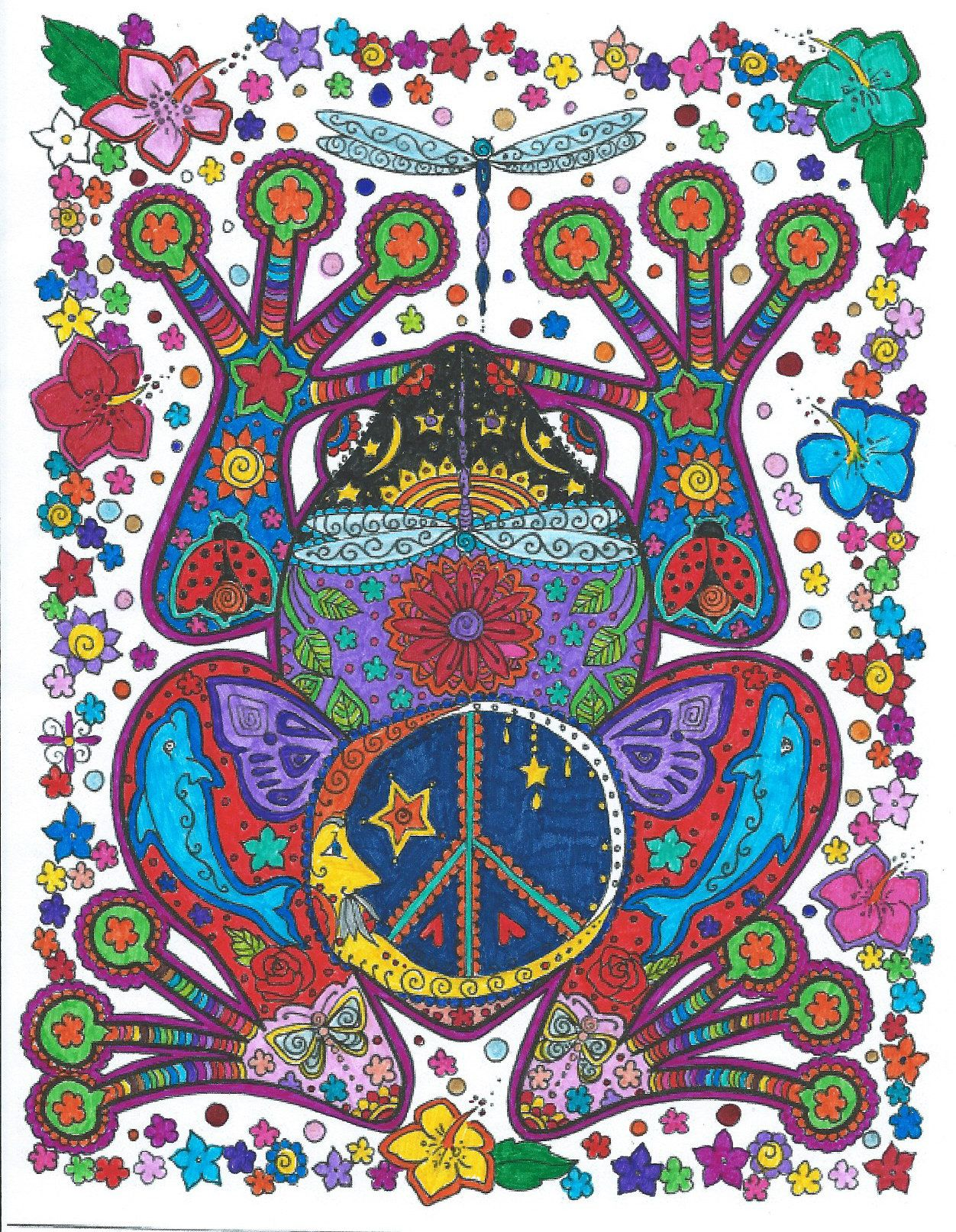Colored By Me O Instant Download Peace Frog Coloring Page Easy To Use Download Be The Artist