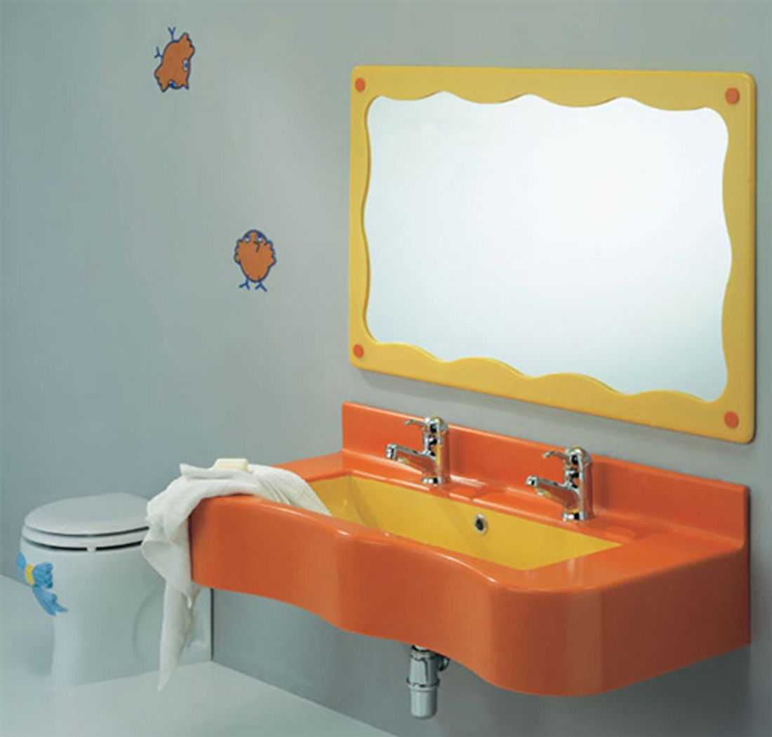 Stylish Kids Bathroom Decorating Ideas Awesome Wash Basin Mirror Wall Painting And Sink