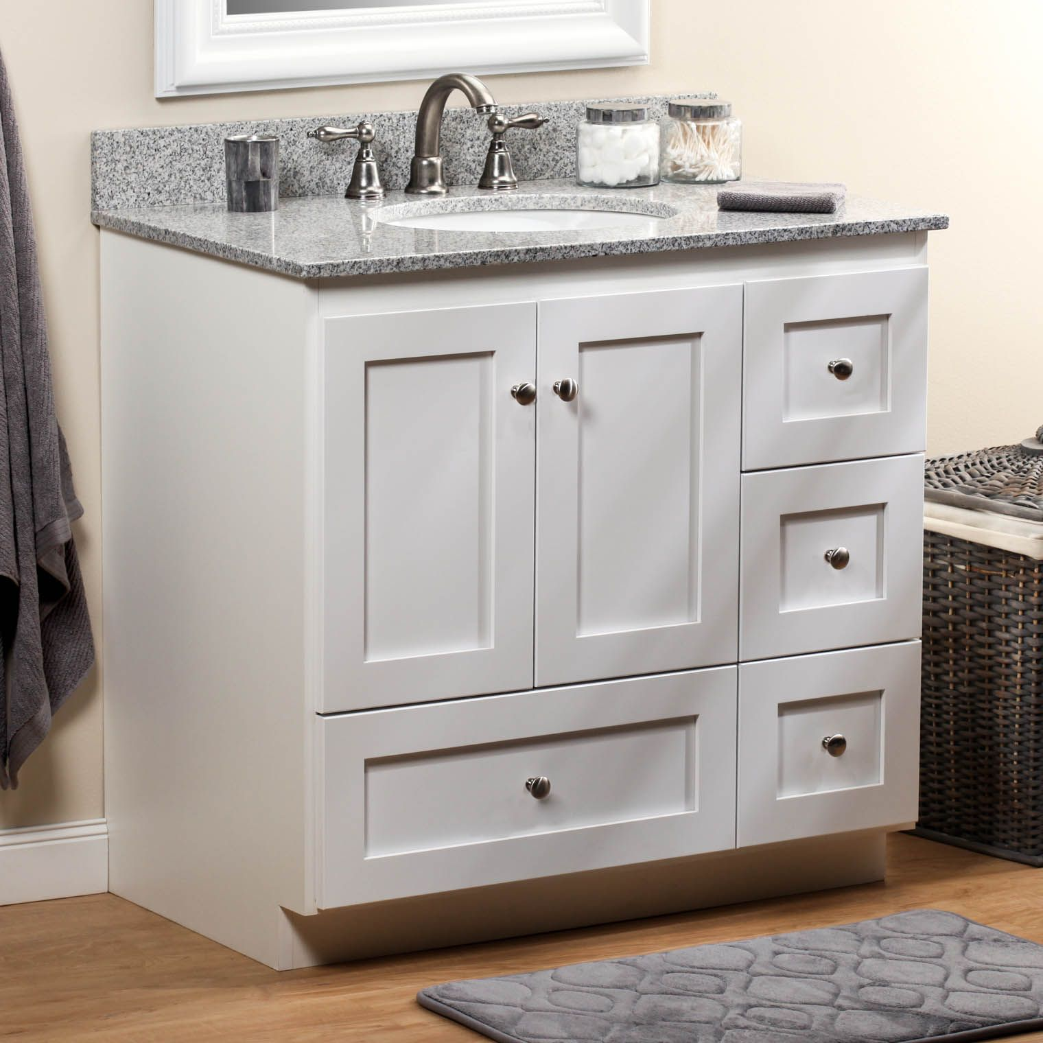 Strasser simplicity 36in satin white four drawer - Small bathroom cabinet with drawers ...