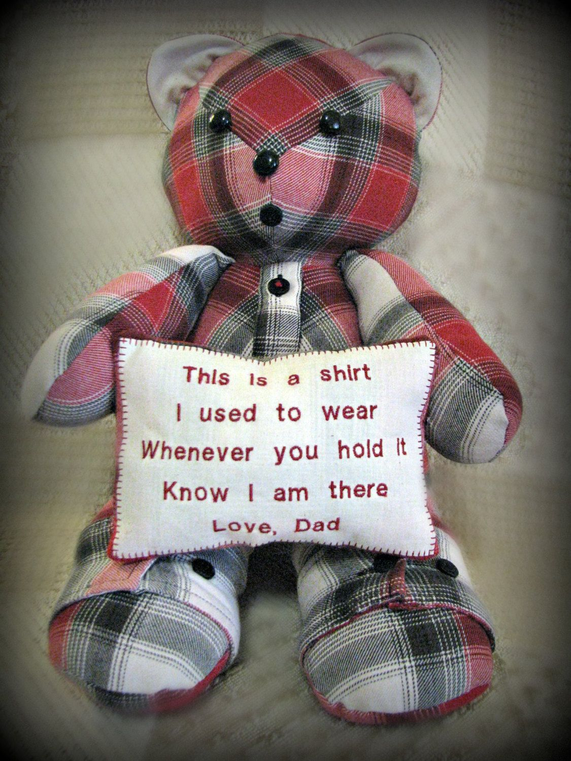 Custom Made Adorable Teddy Bear Holding Pillow with custom embroidery, your  clothing, memory bear
