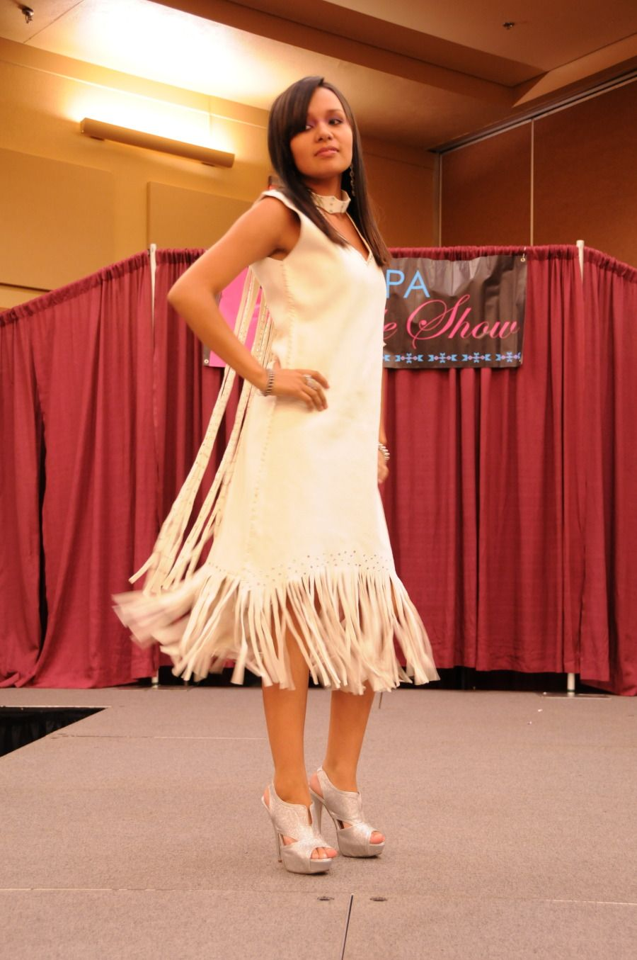 Native american wedding dress  Native American Buckskin Dress   with peacock feathers Right