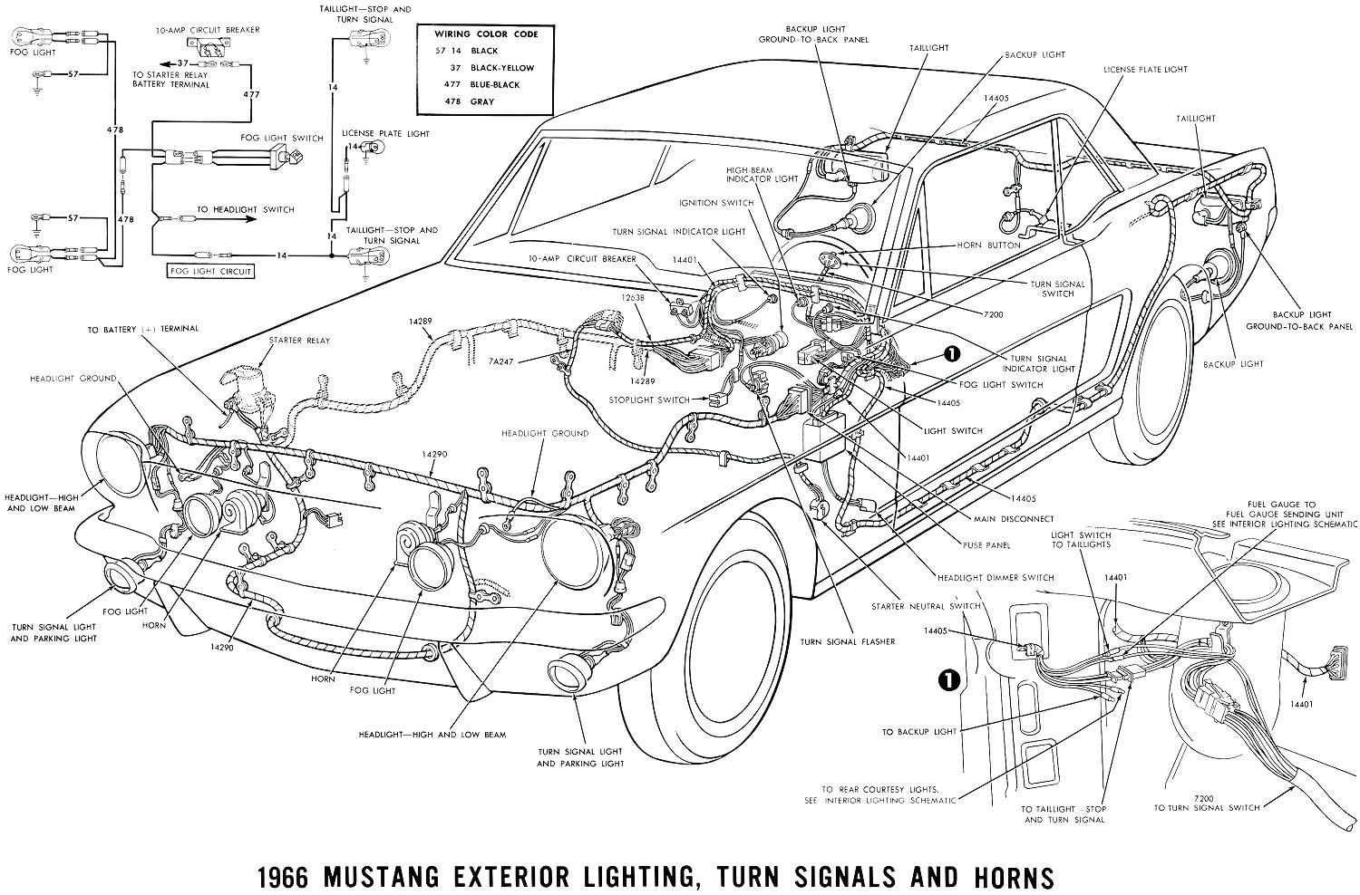 Labeled Car Dashboard Diagram Mustang Exterior Lighting Turn Signals Horn Unit Wiring For 1954 Chevrolet Truck And Horns 1958 Chevy