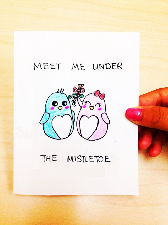 funny christmas card boyfriend meet me under the mistletoe card cute penguin card - Boyfriend Christmas Card