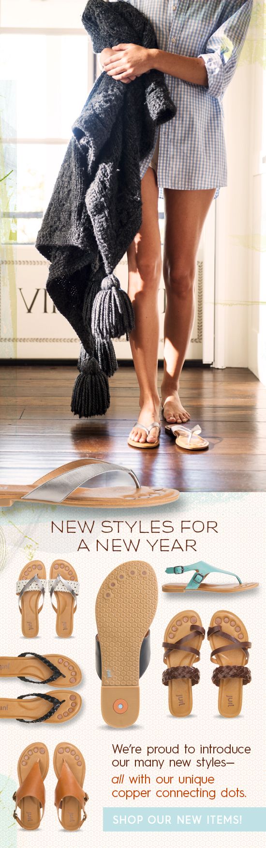 New Styles for a New Year! We're proud to introduce our many NEW sandal styles! #ShoeLove #StayConnected #earthing