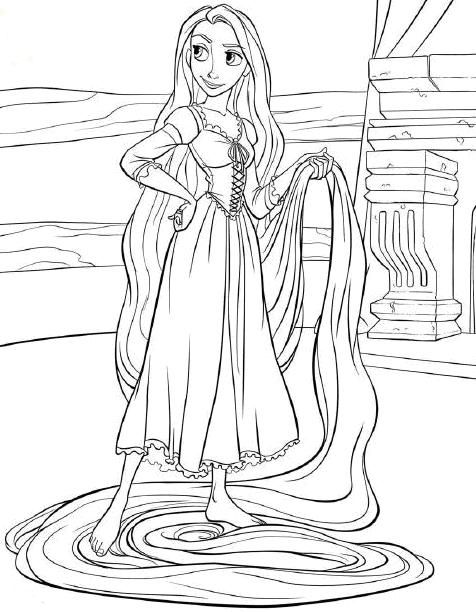 TANGLED COLORING PAGES OF DISNEYS PRINCESS RAPUNZEL kids