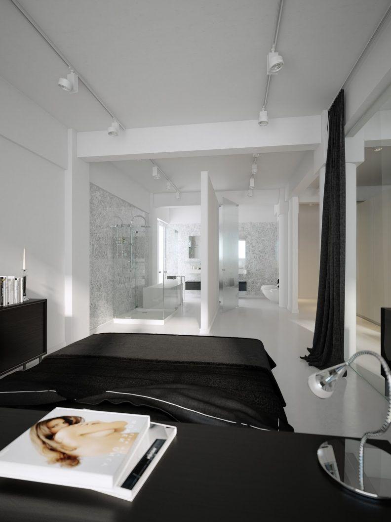 moderne wohnung weiss holz, vertiefte deckenleuchte schwarz und weiß schlafzimmer design weiß, Design ideen