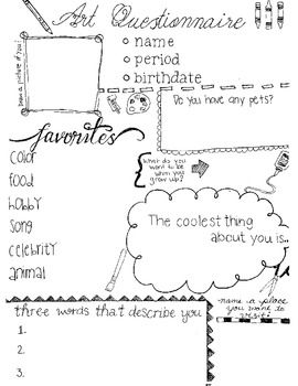 Get to Know You Worksheet for Art Class | Getting to know ...