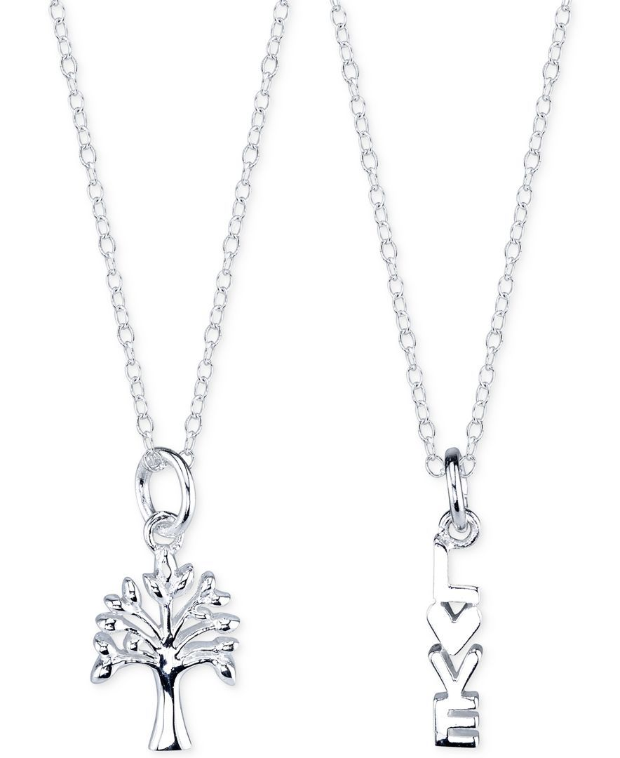 Unwritten Tree and Love Pendant Necklace Set in Sterling